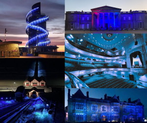 Tees Valley Attraction illuminated with blue lights